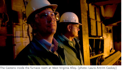 Sean Casten and Tom Casten inside the furnace room at West Virginia Alloy